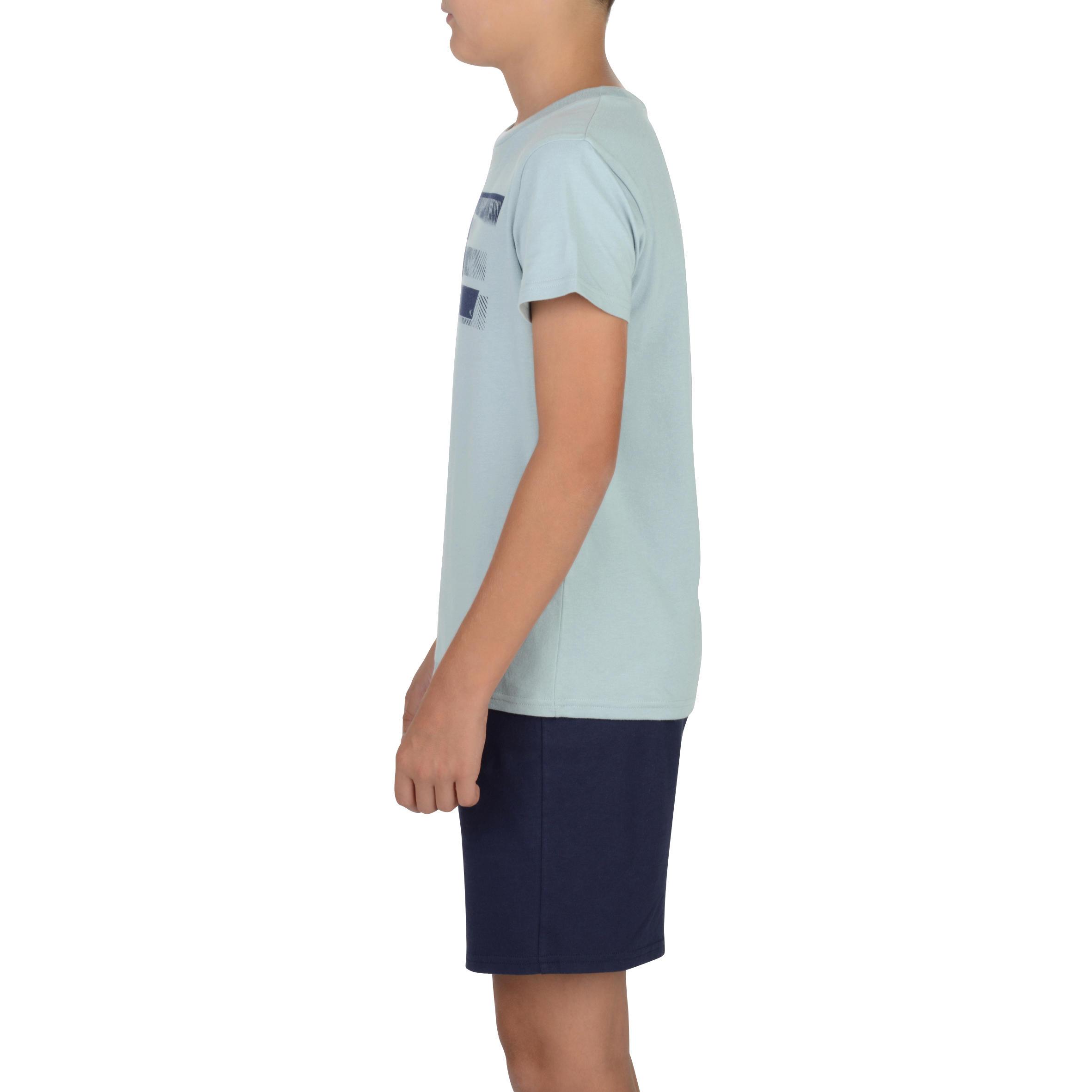 100 Boys' Gym Short-Sleeved T-Shirt - Grey Print