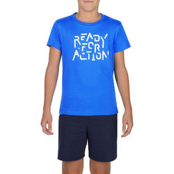 100 Boys' Short-Sleeved Gym T-Shirt - Print/Biru