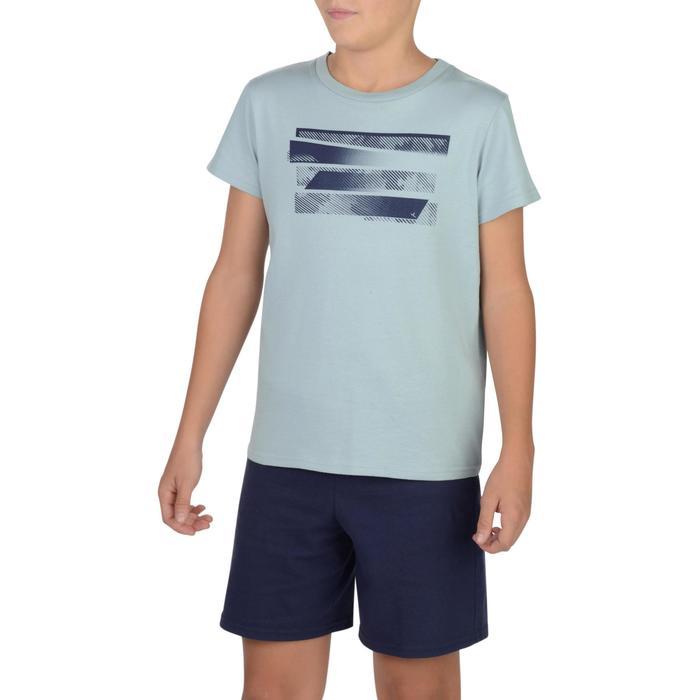 Camiseta de manga corta 100 gimnasia Niños gris estampado