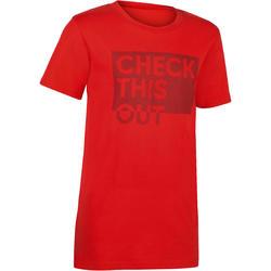 100 Boys' Short Sleeve Gym T-Shirt - Merah Print