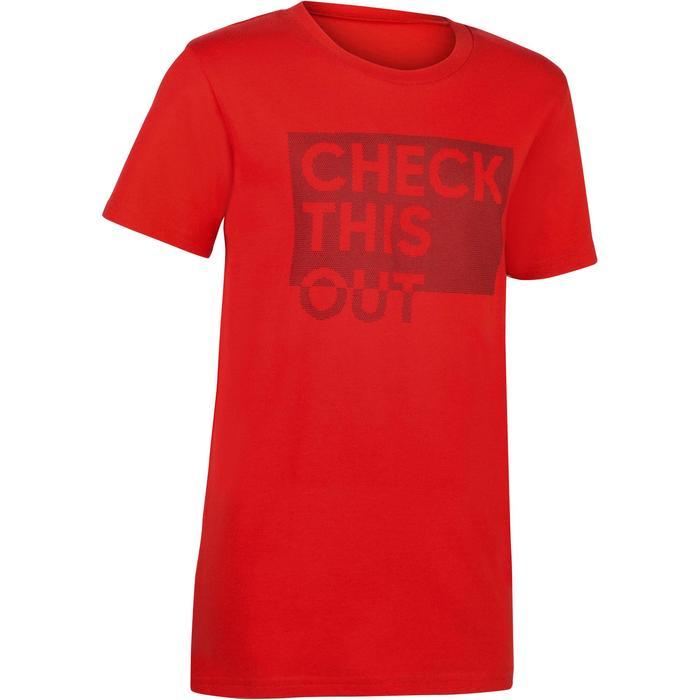 Camiseta de Manga Corta Gimnasia Domyos 100 Niños Rojo Estampado