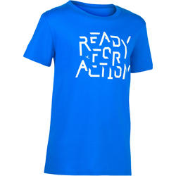 100 Boys' Short-Sleeved Gym T-Shirt - Print/Biru