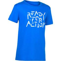 100 男童短袖健身房運動T恤 - 印花/藍色