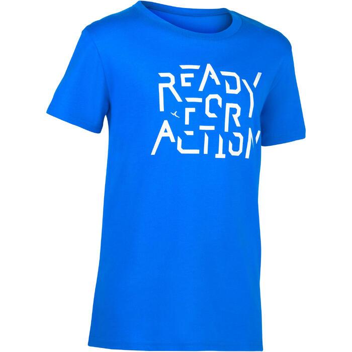 Camiseta de Manga Corta Gimnasia Domyos 100 Niños Azul Estampado