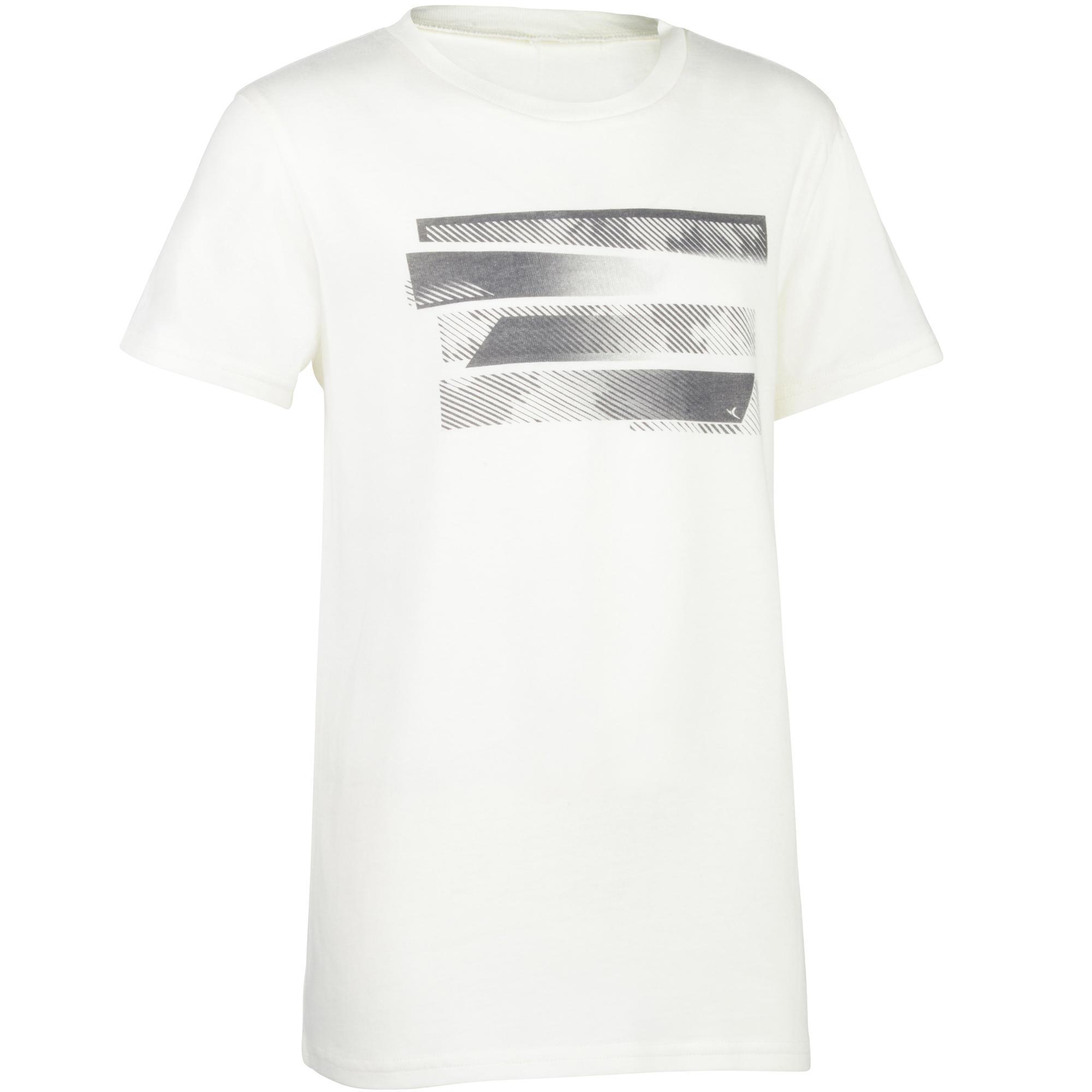 Domyos Gym T-shirt 100 met korte mouwen voor jongens met opdruk