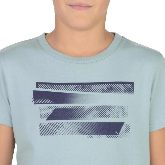 Camiseta Manga Corta Deportiva Gimnasia Domyos 100 Niño Gris Estampado