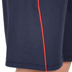 Pantalón Corto Chándal Gimnasia Domyos S900 Niño Transpirable Azul/Rojo