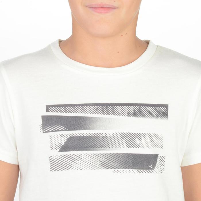 Camiseta de Manga Corta Gimnasia Domyos 100 Niños Blanco Estampado