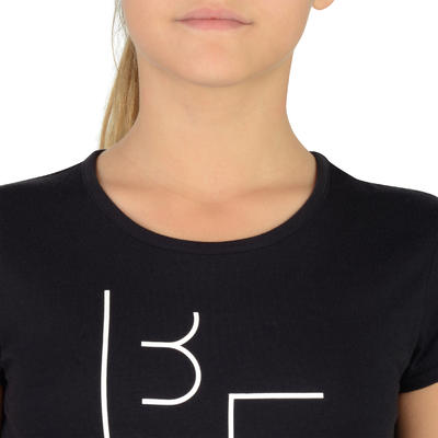 T-Shirt 100 MC Gym Fille imprimé noir blanc