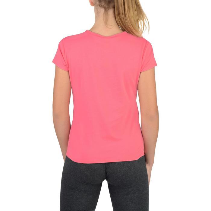 Camiseta Manga Corta Gimnasia Domyos 100 Algodón Niña Rosa