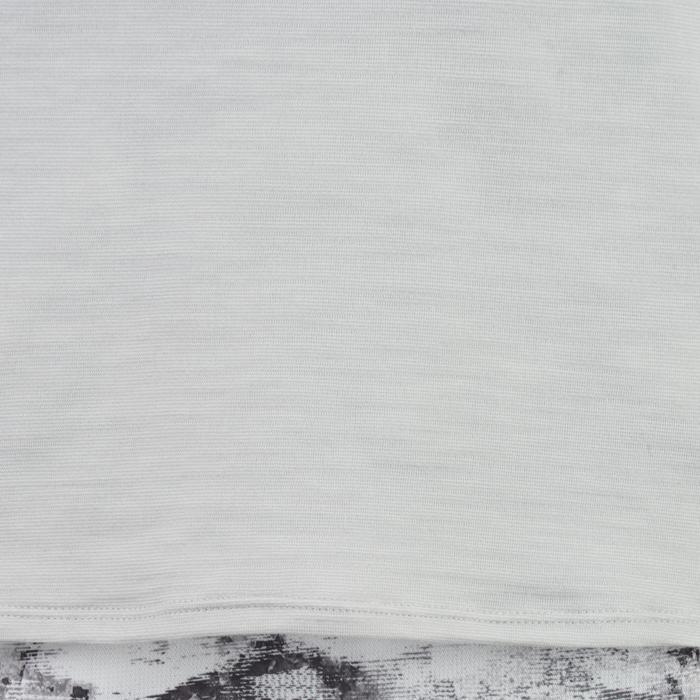 T-Shirt long manches courtes 500 Gym Fille gris blanc - 1326761
