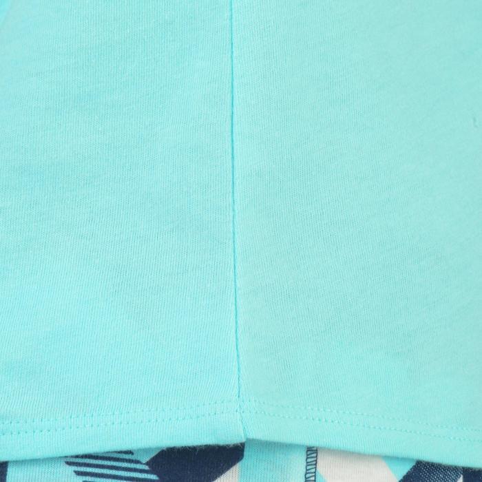 Camiseta Manga Corta Gimnasia Domyos 100 Algodón Niña Azul Claro
