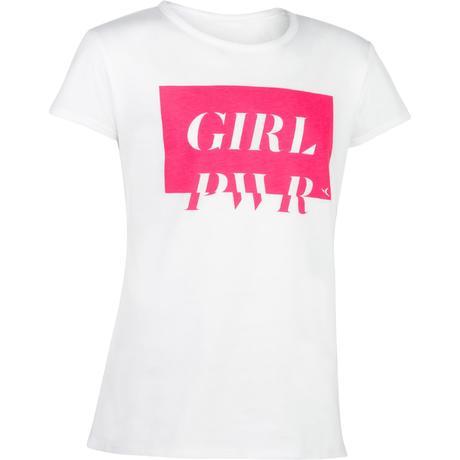 8e223acb781d6 T-Shirt manches courtes 100 Gym Fille blanc imprimé