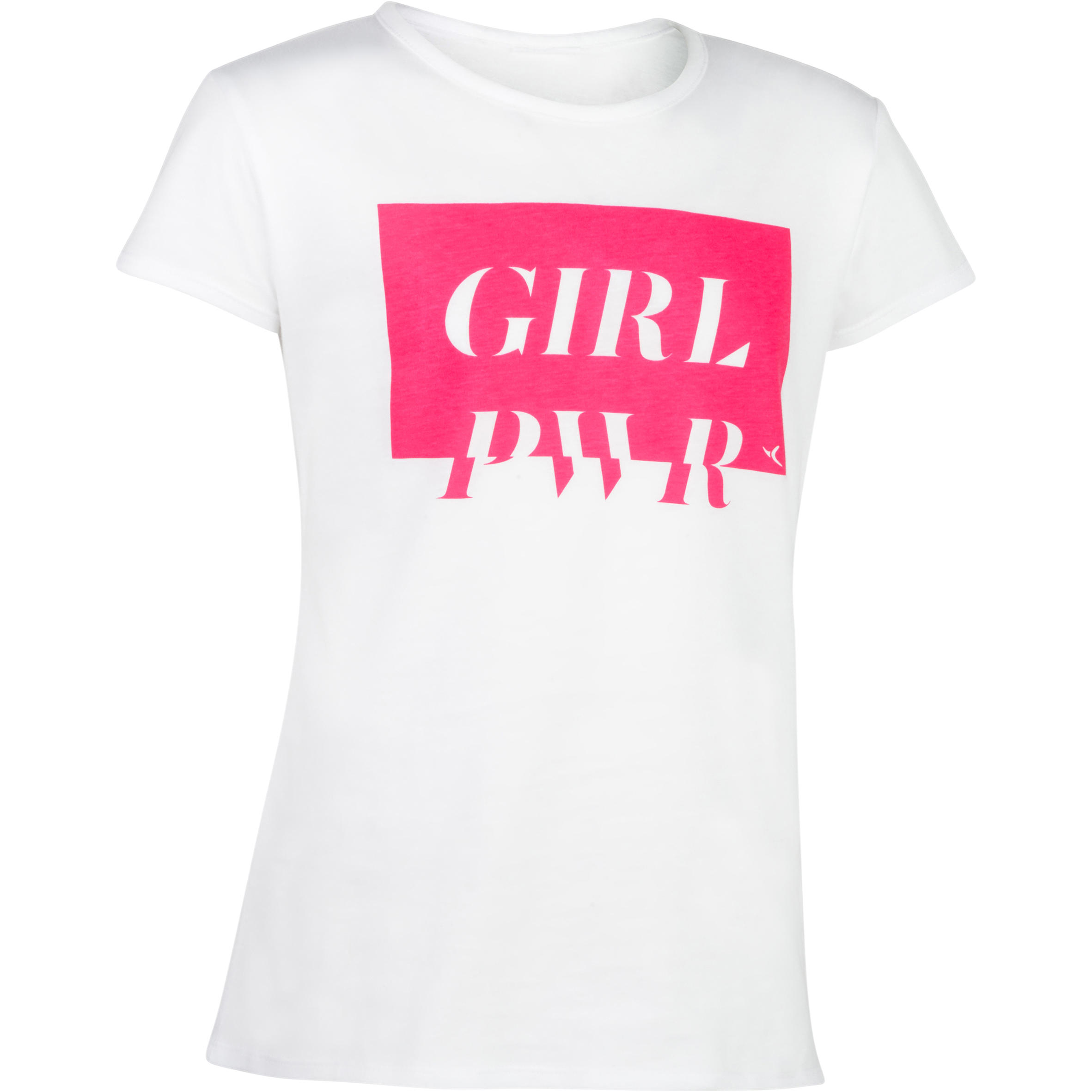 Playera 100 MC gimnasia niña estampado blanco rosa