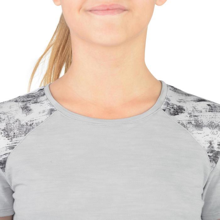 Lang gym T-shirt met korte mouwen 500 voor meisjes grijs wit