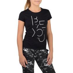 Tee-shirt 100 MC gym fille imprimé noir blanc