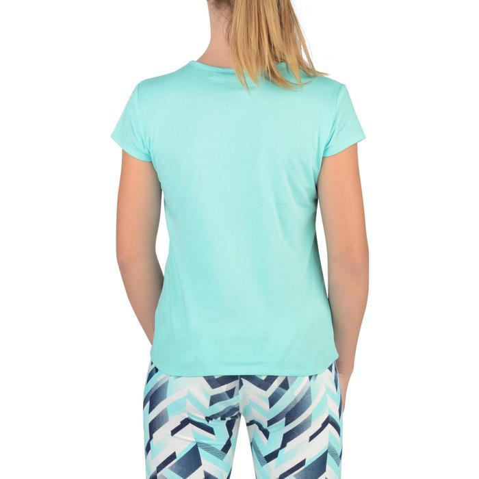 Camiseta de manga corta 100 gimnasia niña azul estampado