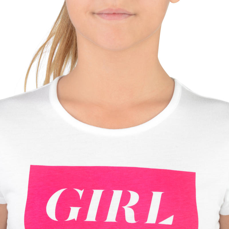 T-Shirt 100 MC Gym Fille imprimé blanc rose