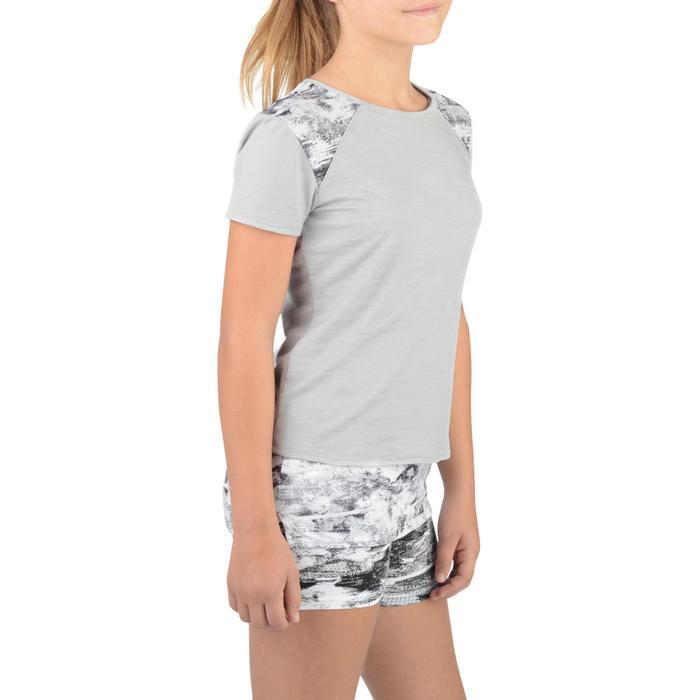 T-Shirt long manches courtes 500 Gym Fille gris blanc - 1326786