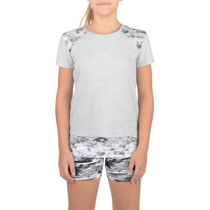 T-Shirt long manches courtes 500 Gym Fille gris blanc - 1326791