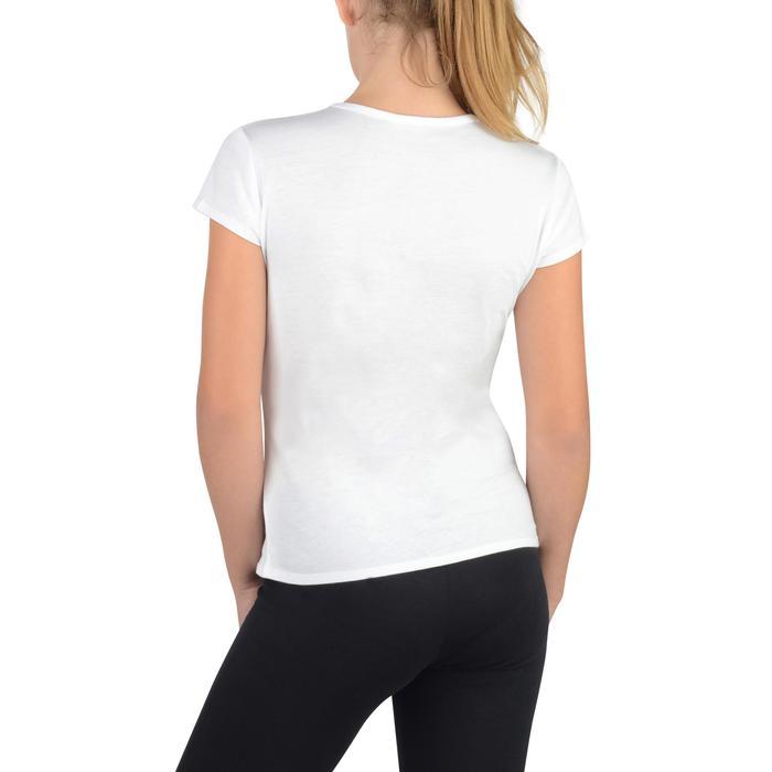 Camiseta Manga Corta Gimnasia Domyos 100 Algodón Niña Blanco
