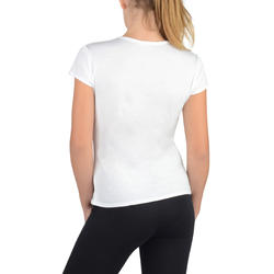 Tee-shirt 100 MC gym fille imprimé blanc rose