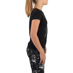 100 Girls' Short-Sleeved Gym T-Shirt - Black Print