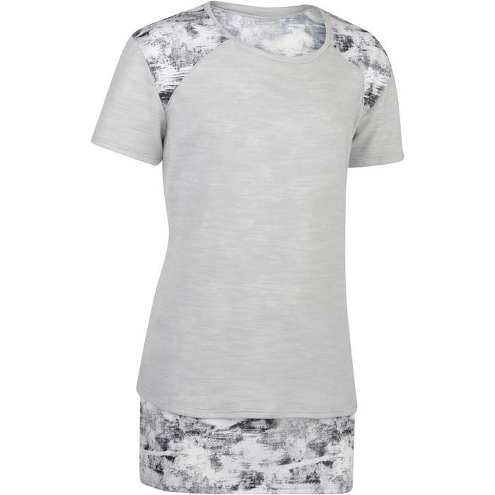 T-Shirt long manches courtes 500 Gym Fille gris blanc - 1326817