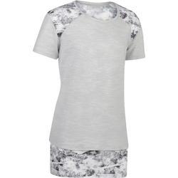 T-Shirt lang 500 Kurzarm Gym Kinder grau/weiß