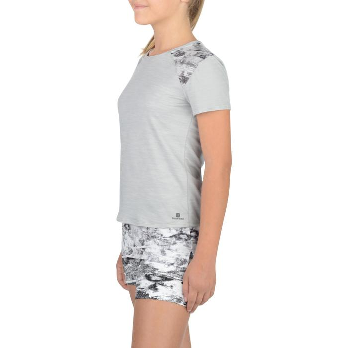 T-Shirt long manches courtes 500 Gym Fille gris blanc - 1326822
