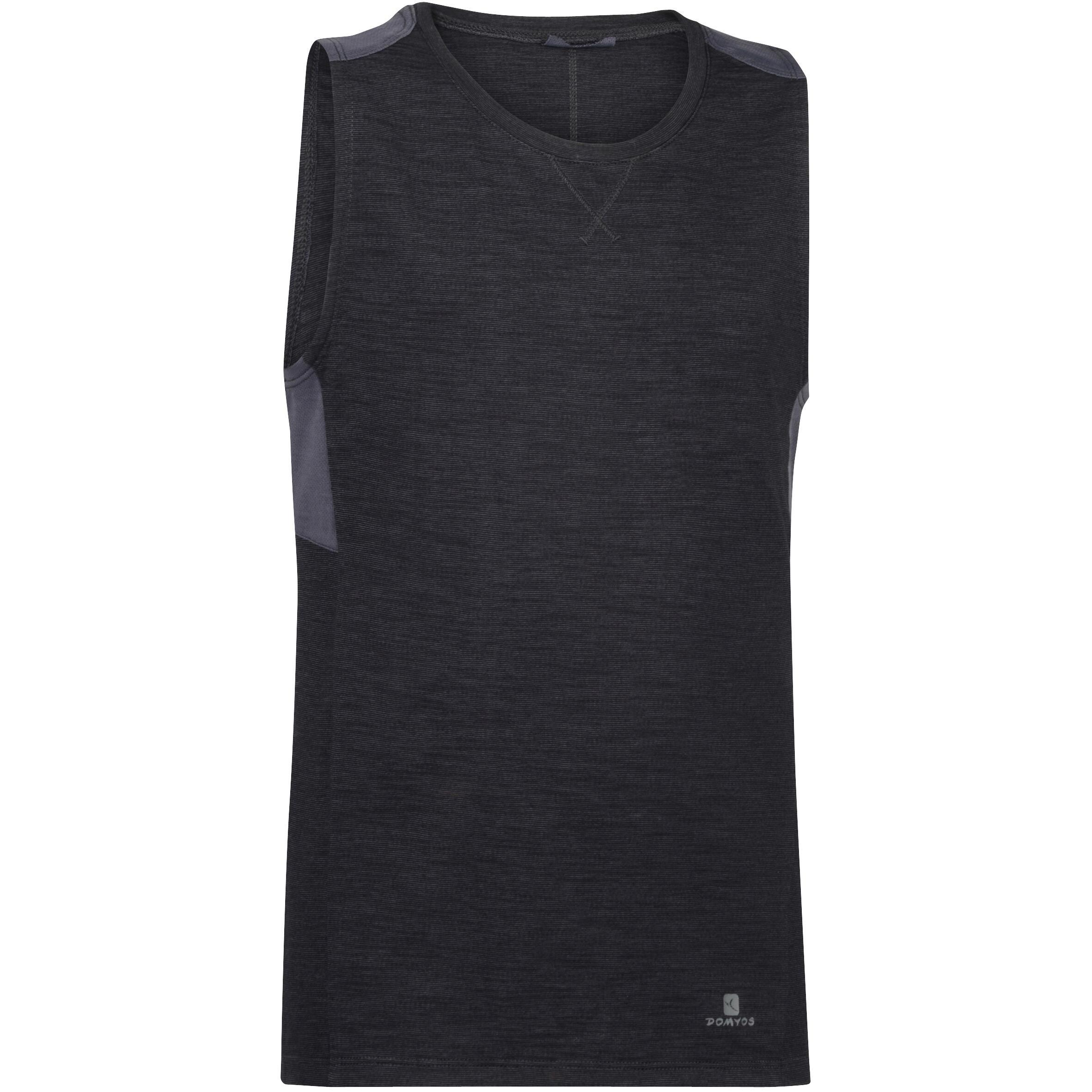 Domyos Mouwloos gymshirt 500 voor jongens zwart