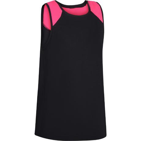 Dívčí tílko na cvičení 500 černo-růžové  81229ee2bd