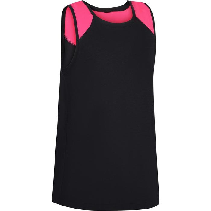 Camiseta sin mangas 500 gimnasia niña negro rosa