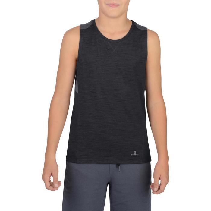 Camiseta Sin Mangas Deportiva Gimnasia Domyos 500 Niño Negro