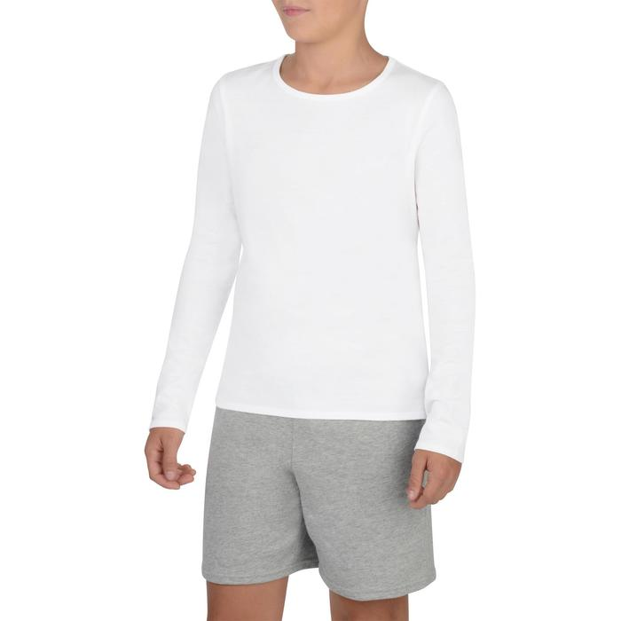 T-Shirt manches longues 100 Gym fille blanc - 1326898