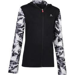960 女童連帽式健身房運動夾克 - 黑色印花
