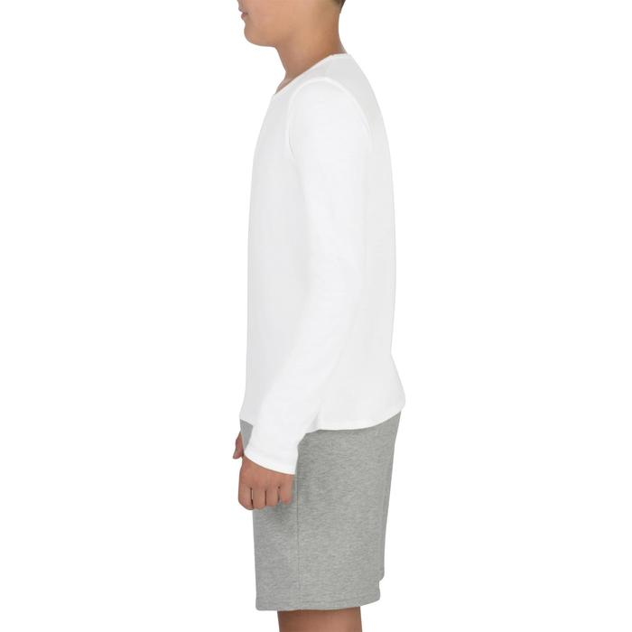 Gym T-shirt met lange mouwen 100 voor meisjes wit