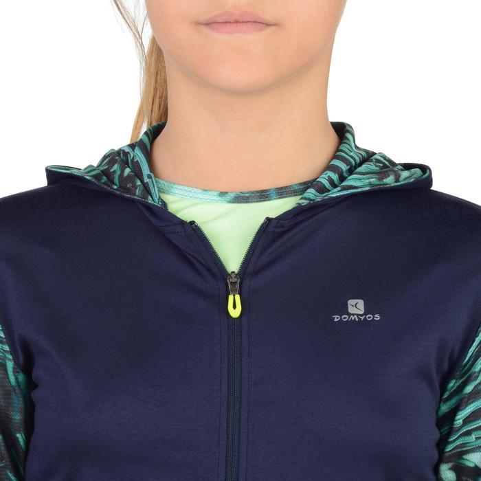 Gym hoodie S900 voor meisjes blauw met print
