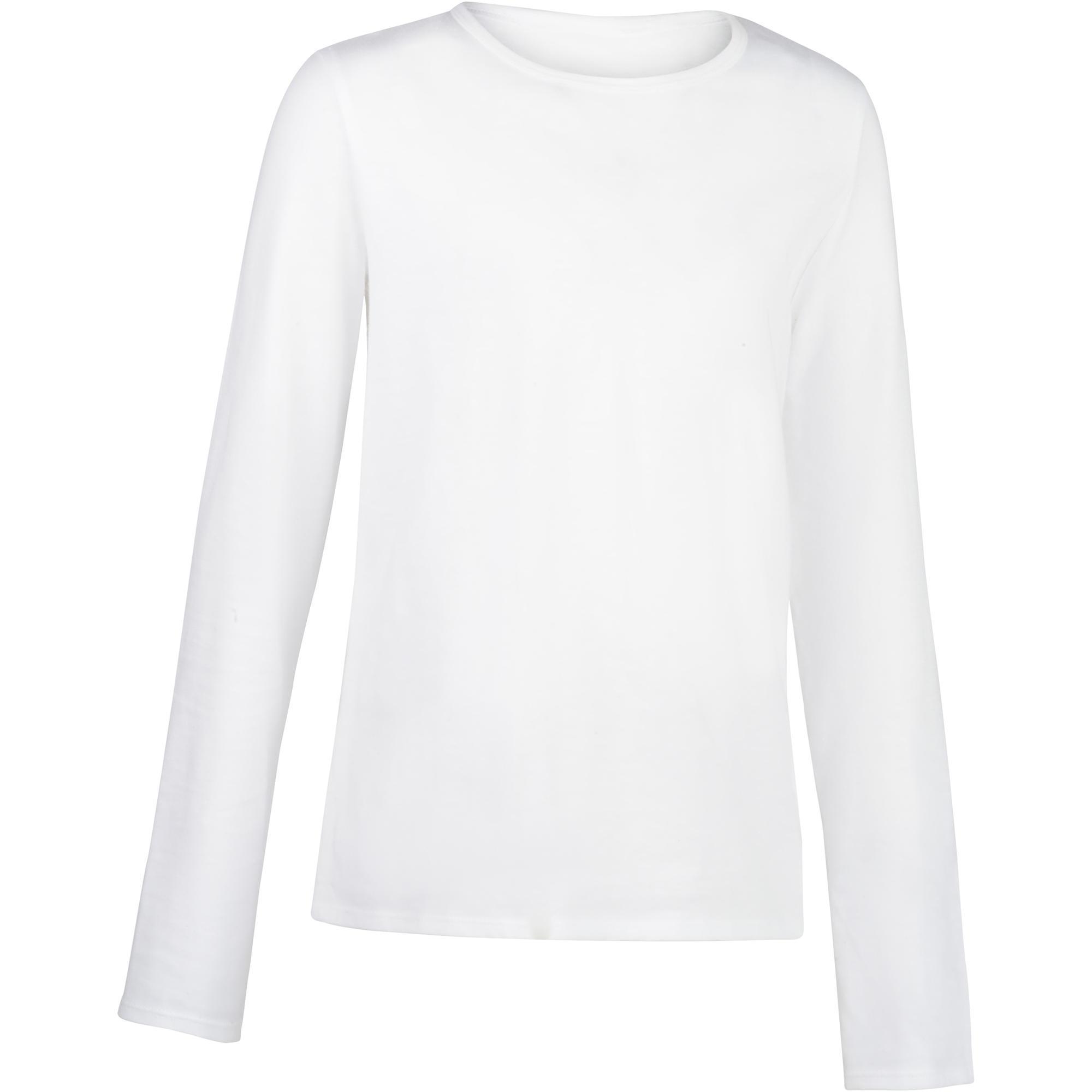 Domyos Gym T-shirt met lange mouwen 100 voor meisjes wit