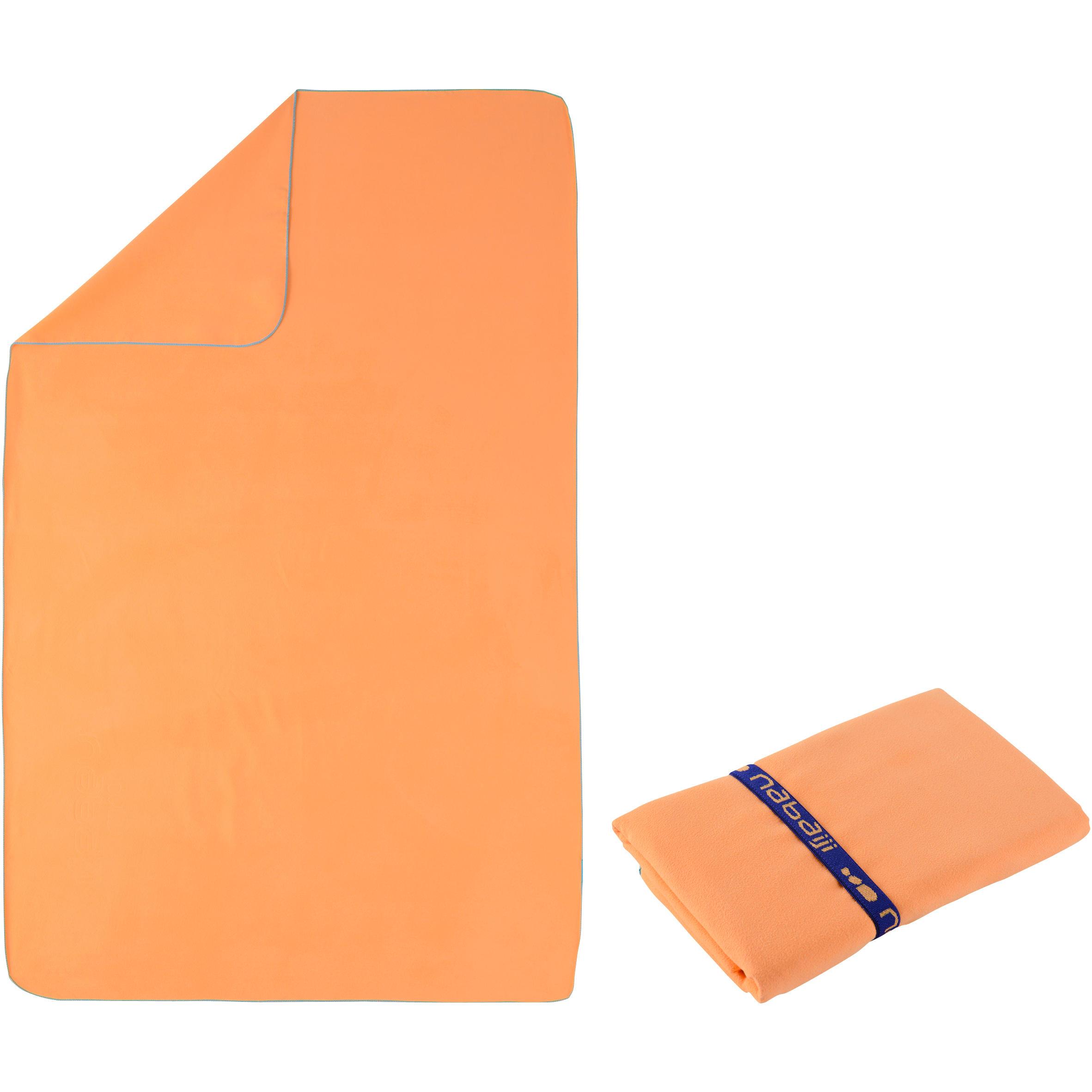 Toalla de microfibra naranja claro talla G 80 x 130 cm.