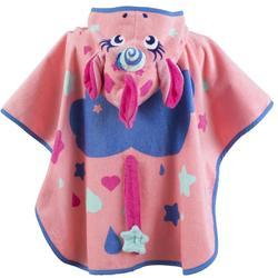 Baby Poncho with Hood pink unicorn print