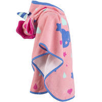 Baby Poncho with Hood Pink Unicorn Print