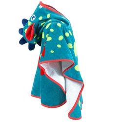 Peuterponcho met kap, blauw/groen, met drakenopdruk, one size