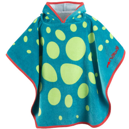 Baby Poncho with Hood, Blue and Green Dragon Print