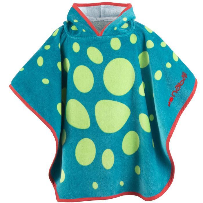 Poncho bébé avec capuche bleu et vert imprimé DRAGON - 1327169