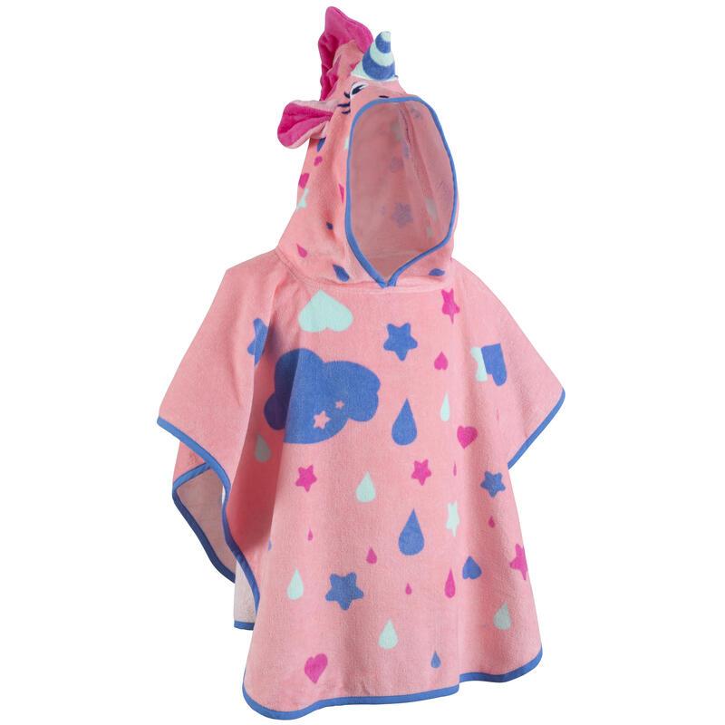 Poncho bebé con capucha rosa estampado Unicornio