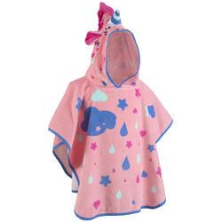 Poncho de bebé con capucha rosa y estampado Unicornio