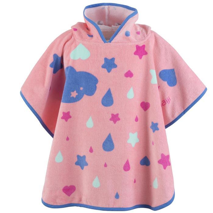Poncho bébé avec capuche rose imprimé Licorne - 1327181