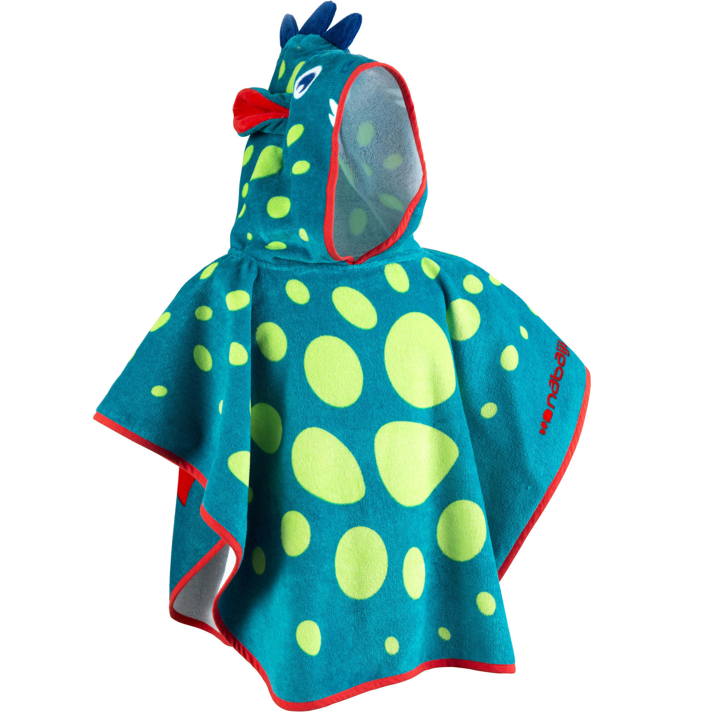 Baby Poncho with Hood blue and green dragon print