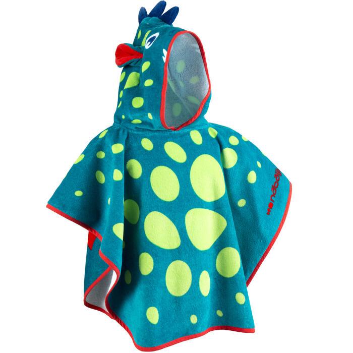 Poncho bébé avec capuche bleu et vert imprimé DRAGON - 1327196